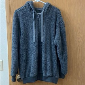 Tops - Oversized dark grey teddy bear quarter zip hoodie